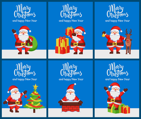 Merry Christmas and Happy New Year set of posters with Santa Claus, his xmas presents and reindeer.
