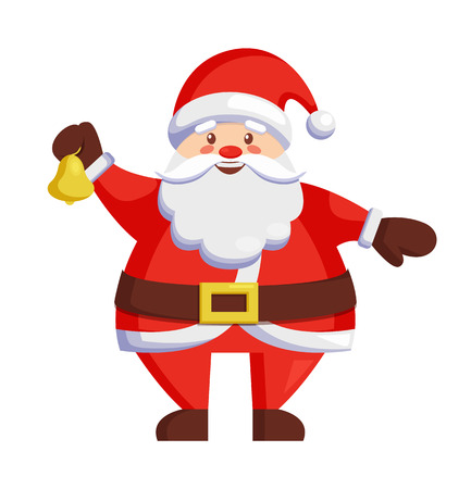 Santa Claus with bell icon isolated on white background. Illustration