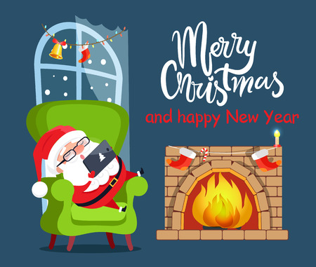 Merry Christmas Santa Claus and fireplace with socks, headline and window decorated with garland and bell. Illustration