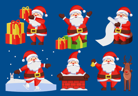 Santa Claus set of icons isolated on dark blue. Vector illustration man in red suit.