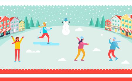 Wintertime and skiing people, snowman and trees, buildings and snowflakes. Illustration