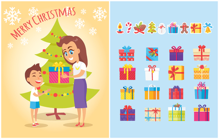 Merry Christmas postcard with mother giving present to son and set of gift boxes in color wrapping, icons of candy stick, spruce cones, snowman in scarf.