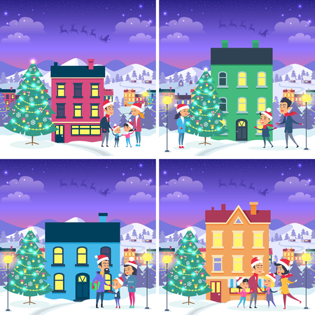 Collection of Christmas pictures with happy families near different in shape, color.