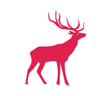 Modèle de Noël, silhouette de renne de couleur rouge, symbole des vacances de nouvel an et d'hiver. Banque d'images - 93276334