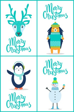 Merry Christmas, banners set representing decorated text in elegant font and images of deer and hedgehog.