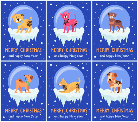 Merry Christmas and Happy New Year festive posters with dogs inside glass bubbles with bottom covered with ice cartoon vector illustrations set.