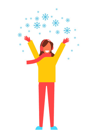 Woman Snowflakes Having Fun Vector Illustration Çizim