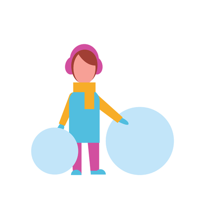 Child with Big Balls of Snow Dressed in Warm Cloth Illustration
