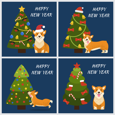 Happy New Year greeting cards with playful corgi dog and decorated Christmas trees with balls and garlands. Illustration