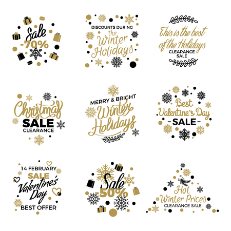 Winter holidays discount concepts big set with snowflakes, hearts, gifts in black and gold colors with elegant lettering on white.