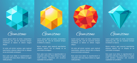 Gemstones banner collection, posters representing images of stones and information sample below them on vector illustration