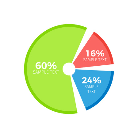 Infographic pie divided in three parts showing percent ratio correlation between part of circular inforchart vector illustration.