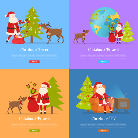 Christmas presents and Santa Claus on color backgrounds web banner. Santa and big reindeer decorate fir tree, send presents for children around world. Vector illustration of Nicolas activities Stock Illustratie