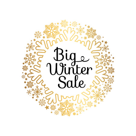 Big winter sale inscription in ornamental frame made of gold snowflakes and decor elements vector illustration banner with text isolated on white