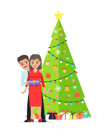 Decorated Christmas tree with garlands, bells and bows on ribbons, many packed presents in gift boxes and family couple giving presents each other vector
