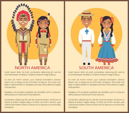Mensen uit het Zuiden en Noord-Amerika, cultuur en gebruiken vertegenwoordigd door de mens die hoed en wit kostuum en vrouw draagt ??in nationale nationale ethiek Stock Illustratie