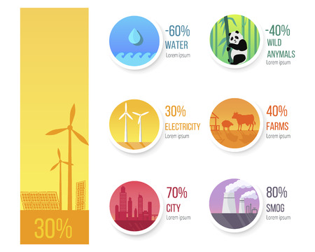 World ecological condition statistic infographic. Water quantity and wild animals decreasing, industrial pollutions amounts vector illustrations.