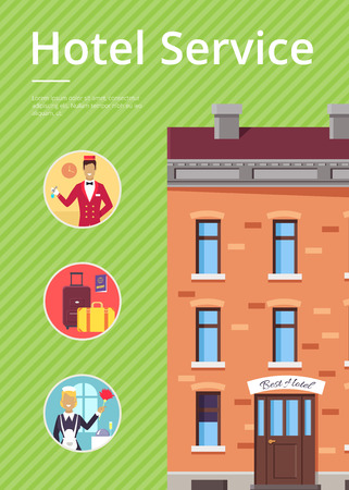 Hotel services in circles near building vector poster with green background. Greeting card of accommodation for travellers template