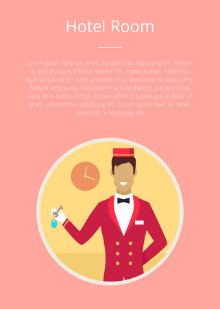 Hotel room poster with pink background and circle icon of bellhop. Vector illustration of cheerful employee in red jacket and hat holding key