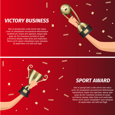 Business victory and sport award web banners. Glossy metallic trophy cups in human hand with falling golden foil confetti realistic isolated vector. Competition prize, awards for winner illustration Stock Illustratie