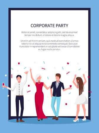 Affiche de fête corporative avec célébrer les gens, rire et debout avec des galsses d'alcool dans les mains et des confettis au-dessus des personnes vecteur avec texte Banque d'images - 93277254