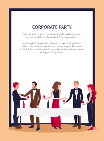 Corporate party poster with people in process of drinking red wine and talking, standing by white table and holding glasses vector in frame with text  イラスト・ベクター素材