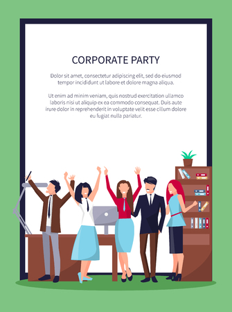 Corporate party poster with happy people celebrating success in office workplace including table, computer and drawers, flags vector in frame.