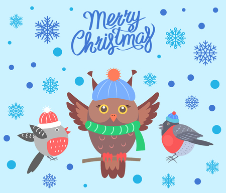 Merry Christmas poster with birds banner greeting sample, owl wearing scarf sitting on branch and bullfinches in hats vector illustration.
