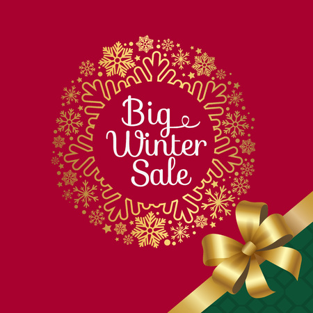 Big winter sale, headline written in circle frame with snowflakes, there is ribbon and bow as sign of present vector illustration isolated on red
