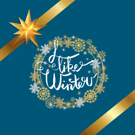 I like winter poster decorated by frame made of silver and golden snowflakes, gold ribbons with bow in corners, isolated on blue background vector