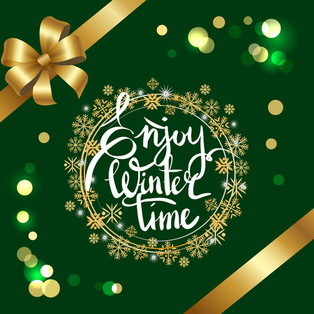 Enjoy winter time inscription in frame made of golden and silver snowflakes vector on green with glittering sparkles, decorated by ribbon and bow in corners