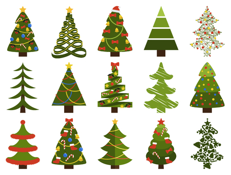 Big set of Christmas tree symbols with or without decorative elements, abstract spruces with garlands and toys, topped by hat or star vector on white