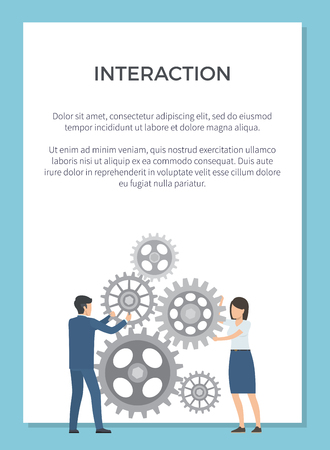 Interaction representation with two co-workers working together on mechanism. Reklamní fotografie - 93280060