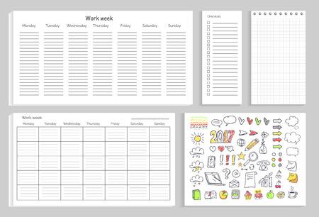 Work Week Set of Papers on Vector Illustration Çizim