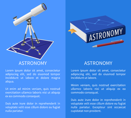 Astronomy banner with telescope device and school textbook, constellation map vector illustration icon with place for text on blue Çizim
