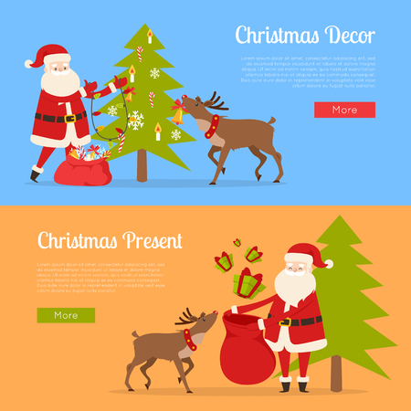 Christmas decor and present with Santa Claus on different blue and orange backgrounds.