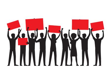 De groep mensen van beide geslachten met opgeheven rode aanplakbiljetten leidende massieverzameling isoleerde vectorillustratie op witte achtergrond.