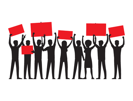 Group of people of both sexes with raised red placards conducting mass rally isolated vector illustration on white background.