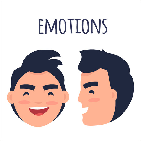 男性ポジティブ感情フラットベクトルコンセプト