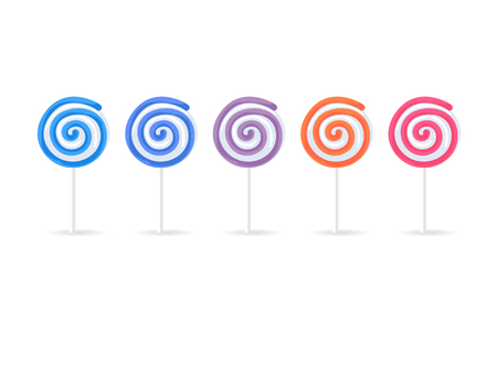 Swirl lollipops candy set isolated on white background.