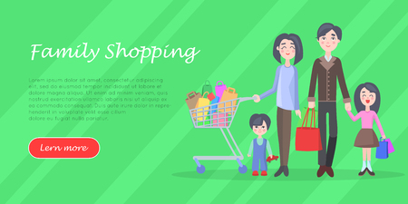 Young man and woman make purchases with kids cartoon flat vector illustration isolated on white background.