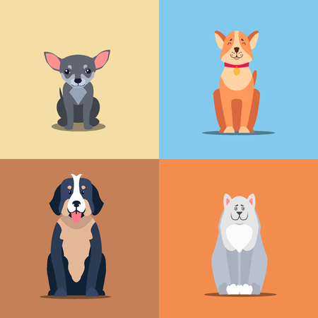 Happy doggies sitting with smiling muzzle and hanging out tongue flat vector on colorful background.