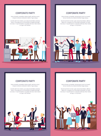 Corporate party set of four pictures with people in process of celebrating important event, whiteboard and scheme, vector in frame with text