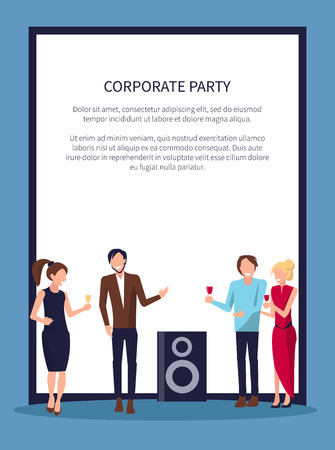 Corporate Party Disco on Vector Illustration White Ilustração
