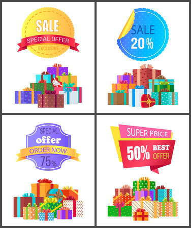 Set of special price exclusive discount posters vector illustration with promotion cards with colorful stickers, ad text, cute gifts isolated on white Illustration