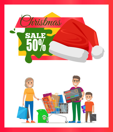 Half price Christmas sale card vector illustration of happy family, many various purchases in hands and wheelbarrow.