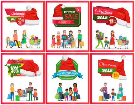 Set of Christmas sale premium quality banners, vector illustration with ad text, red Santa s hats, many people holding various purchases, color frames