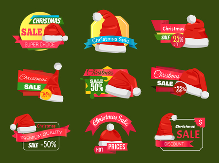 Great diversity of Santa Clause hats on shopping labels.
