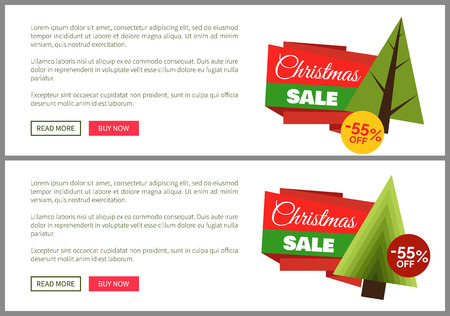 Christmas sale buy now posters vector illustration of two promotion cards with text sample, New Year trees with cute toys, push-buttons Stock Vector - 93384179