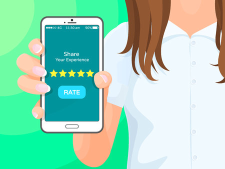 Share your experience, phone with application and button says rate, golden stars, smartphone in hands of woman, isolated on vector illustration Иллюстрация